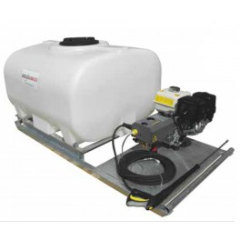 700L Pressure Washer Skid Unit - Honda Recoil Start Petrol Engine - 12L/min 2175 Psi Pump - 8m Hose & Lance - Blue Tank