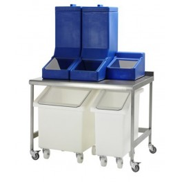 Stainless Mobile Table with 2 mobile + 3 tabletop dispense containers