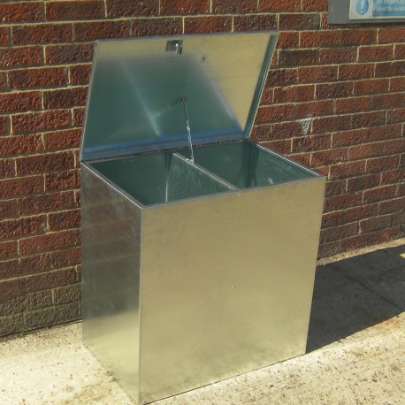 Heavy Duty Small Galvanised Feed Bin - 2 Compartments