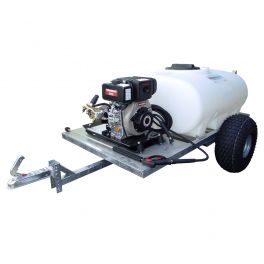 700L Site Tow Pressure Washer Bowser - Honda Recoil Start Petrol Engine - 12L/min 2175 Psi Pump - 8m Hose & Lance - Bl