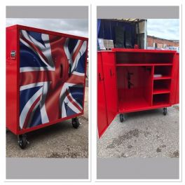 2 Saddle Coloured Mobile Competition Locker With Unique Design Union Jack Doors